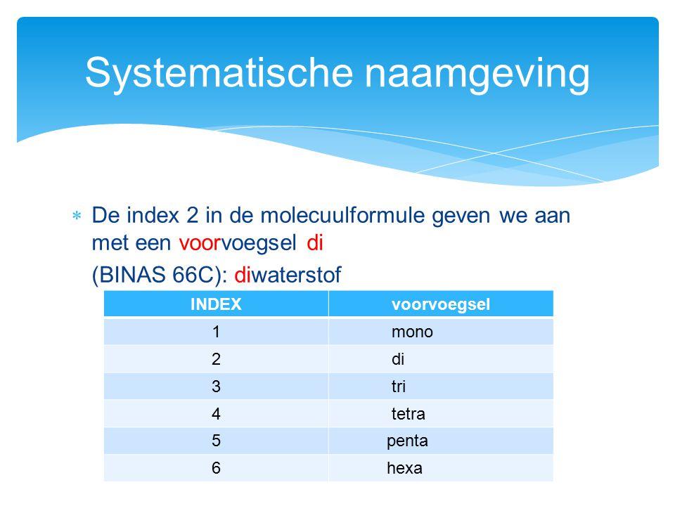  De index 2 in de molecuulformule geven we aan met een voorvoegsel di (BINAS 66C): diwaterstof Systematische naamgeving INDEXvoorvoegsel 1 mono 2 di