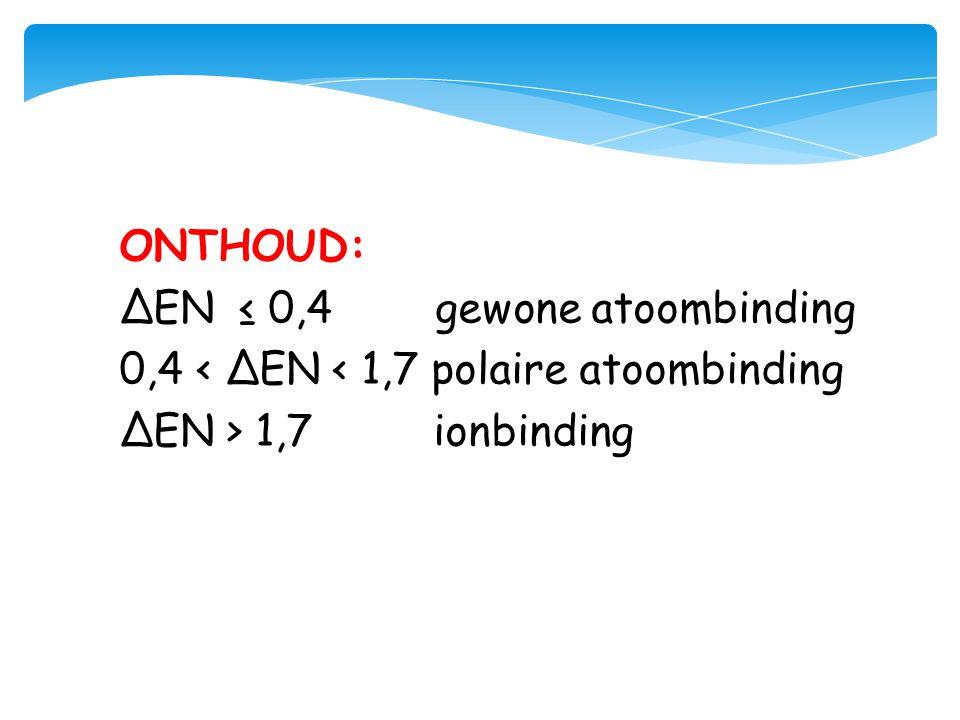 ONTHOUD: ΔEN ≤ 0,4 gewone atoombinding 0,4 < ΔEN < 1,7 polaire atoombinding ΔEN > 1,7 ionbinding