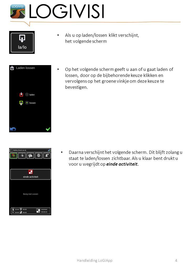 Als u op laden/lossen klikt verschijnt, het volgende scherm Op het volgende scherm geeft u aan of u gaat laden of lossen, door op de bijbehorende keuz