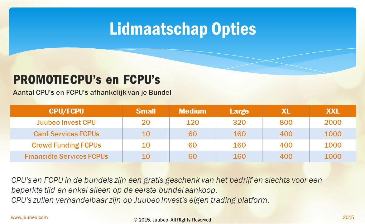 2015www.juubeo.com PROMOTIE CPU's en FCPU's CPU/FCPUSmallMediumLargeXLXXL Juubeo Invest CPU201203208002000 Card Services FCPUs10601604001000 Crowd Fun