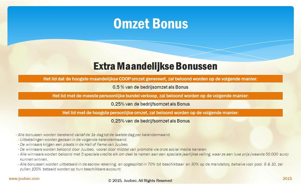2015www.juubeo.com Het lid dat de hoogste maandelijkse COOP omzet genereert, zal beloond worden op de volgende manier: 0,5 % van de bedrijsomzet als B