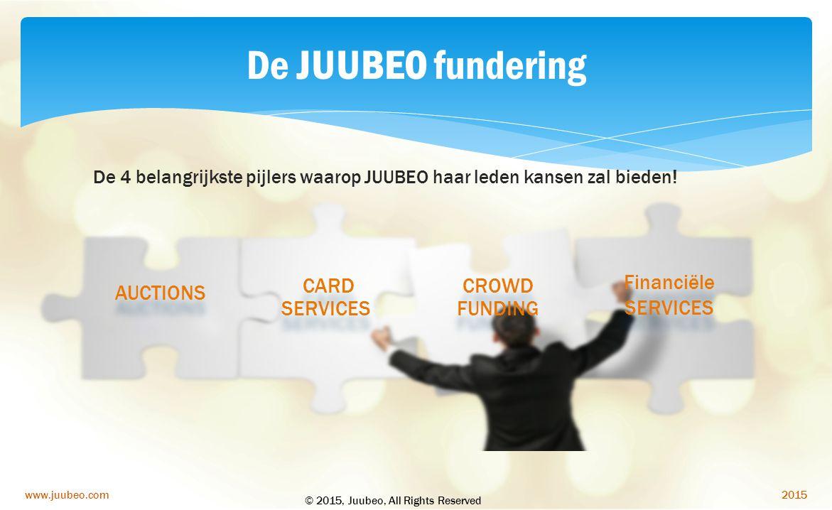 2015www.juubeo.com De JUUBEO fundering De 4 belangrijkste pijlers waarop JUUBEO haar leden kansen zal bieden! AUCTIONS CARD SERVICES CROWD FUNDING Fin
