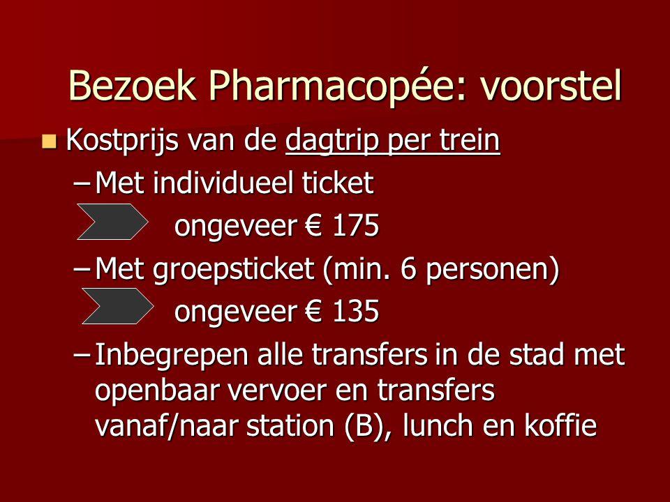 Kostprijs van de dagtrip per trein Kostprijs van de dagtrip per trein –Met individueel ticket ongeveer € 175 –Met groepsticket (min.
