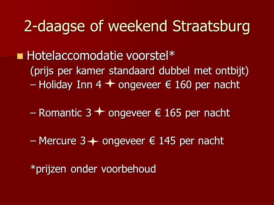 2-daagse of weekend Straatsburg Hotelaccomodatie voorstel* Hotelaccomodatie voorstel* (prijs per kamer standaard dubbel met ontbijt) –Holiday Inn 4 ongeveer € 160 per nacht –Romantic 3 ongeveer € 165 per nacht –Mercure 3 ongeveer € 145 per nacht *prijzen onder voorbehoud