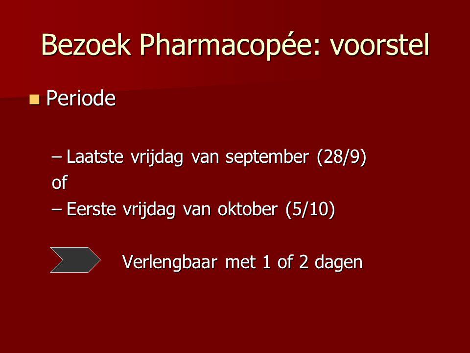 Bezoek Pharmacopée: voorstel Periode Periode –Laatste vrijdag van september (28/9) of –Eerste vrijdag van oktober (5/10) Verlengbaar met 1 of 2 dagen