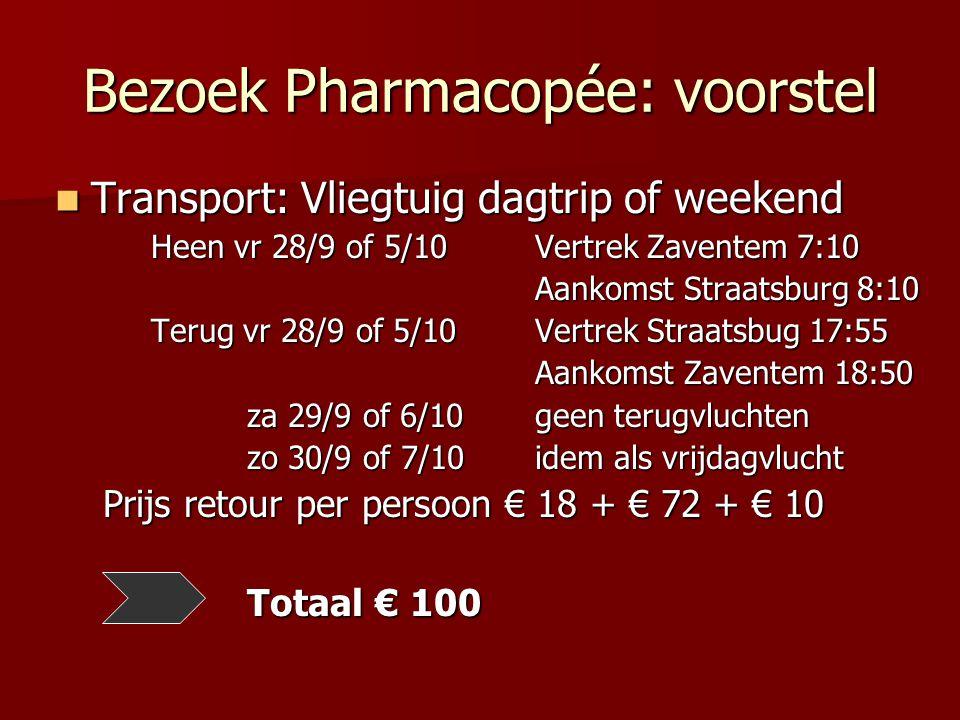 Bezoek Pharmacopée: voorstel Transport: Vliegtuig dagtrip of weekend Transport: Vliegtuig dagtrip of weekend Heen vr 28/9 of 5/10 Vertrek Zaventem 7:10 Aankomst Straatsburg 8:10 Terug vr 28/9 of 5/10 Vertrek Straatsbug 17:55 Aankomst Zaventem 18:50 za 29/9 of 6/10geen terugvluchten zo 30/9 of 7/10idem als vrijdagvlucht Prijs retour per persoon € 18 + € 72 + € 10 Totaal € 100