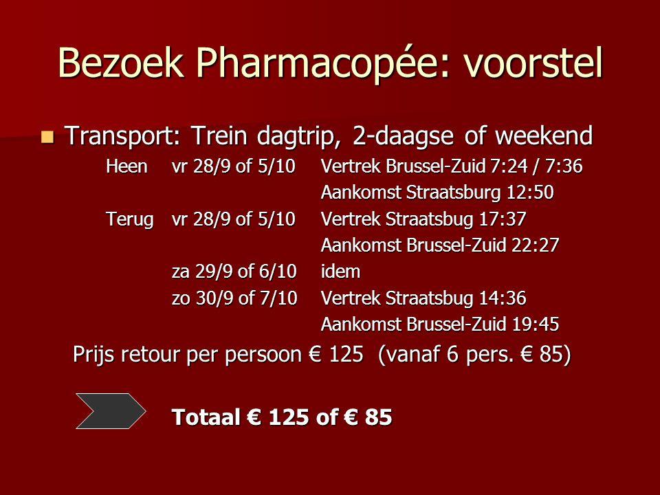 Bezoek Pharmacopée: voorstel Transport: Trein dagtrip, 2-daagse of weekend Transport: Trein dagtrip, 2-daagse of weekend Heen vr 28/9 of 5/10 Vertrek Brussel-Zuid 7:24 / 7:36 Aankomst Straatsburg 12:50 Aankomst Straatsburg 12:50 Terug vr 28/9 of 5/10 Vertrek Straatsbug 17:37 Aankomst Brussel-Zuid 22:27 Aankomst Brussel-Zuid 22:27 za 29/9 of 6/10 idem zo 30/9 of 7/10 Vertrek Straatsbug 14:36 Aankomst Brussel-Zuid 19:45 Aankomst Brussel-Zuid 19:45 Prijs retour per persoon € 125 (vanaf 6 pers.