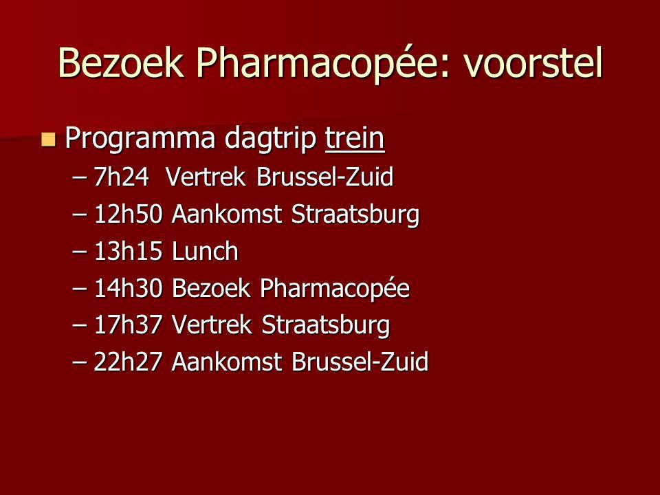 Bezoek Pharmacopée: voorstel Programma dagtrip trein Programma dagtrip trein –7h24 Vertrek Brussel-Zuid –12h50 Aankomst Straatsburg –13h15 Lunch –14h30 Bezoek Pharmacopée –17h37 Vertrek Straatsburg –22h27 Aankomst Brussel-Zuid