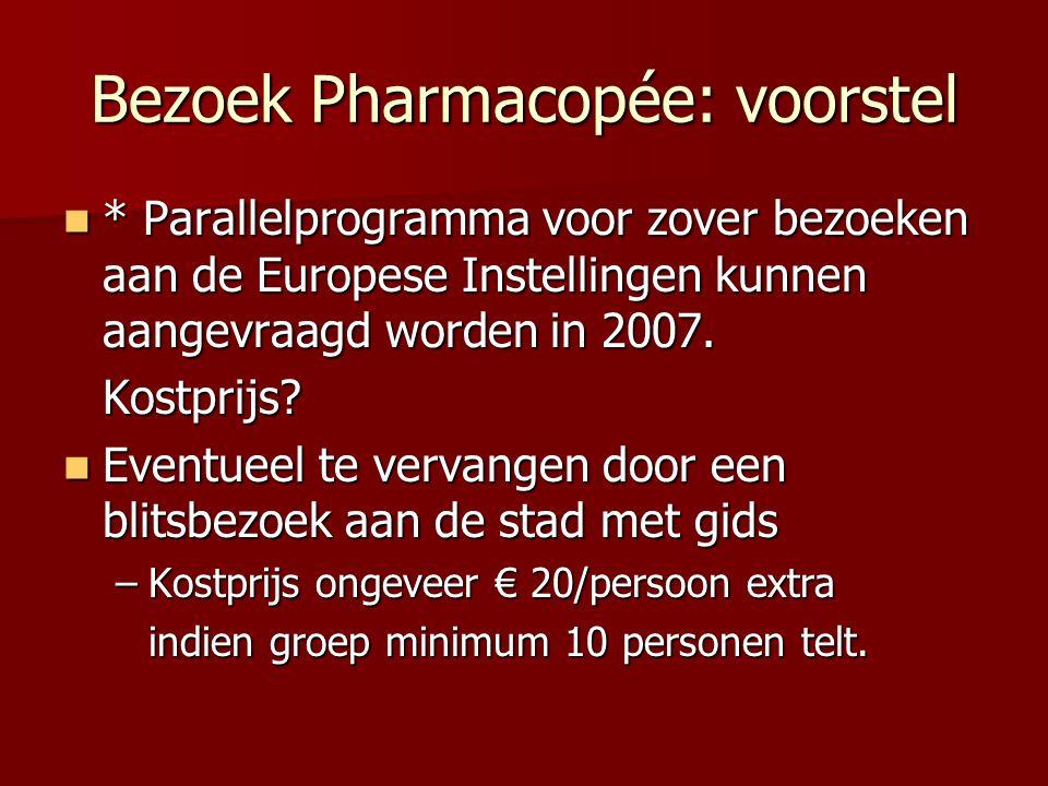 Bezoek Pharmacopée: voorstel * Parallelprogramma voor zover bezoeken aan de Europese Instellingen kunnen aangevraagd worden in 2007.