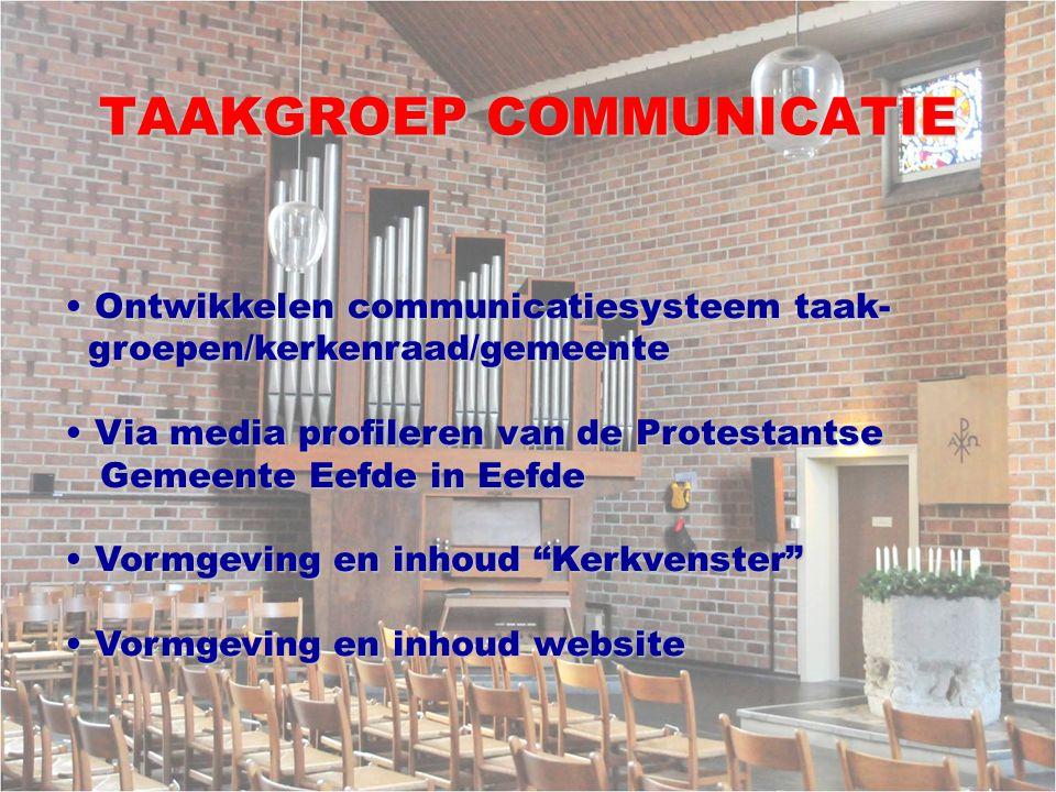 TAAKGROEP COMMUNICATIE Ontwikkelen communicatiesysteem taak- Ontwikkelen communicatiesysteem taak- groepen/kerkenraad/gemeente groepen/kerkenraad/geme