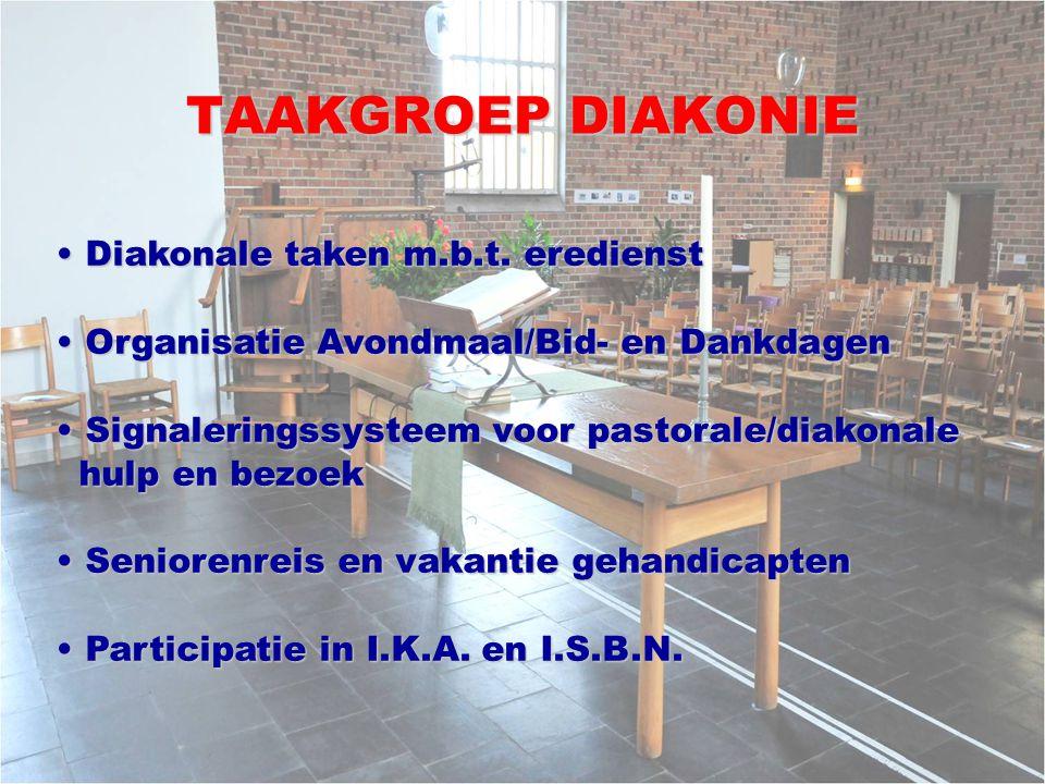 TAAKGROEP DIAKONIE Diakonale taken m.b.t.eredienst Diakonale taken m.b.t.