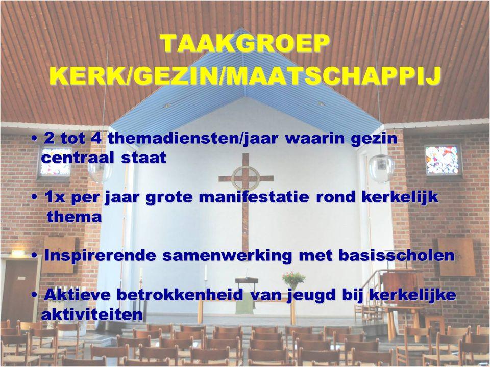TAAKGROEPKERK/GEZIN/MAATSCHAPPIJ 2 tot 4 themadiensten/jaar waarin gezin 2 tot 4 themadiensten/jaar waarin gezin centraal staat centraal staat 1x per