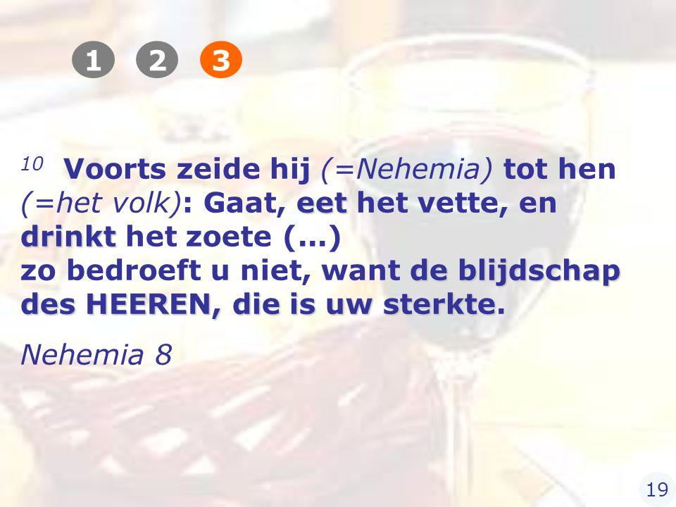 eet drinkt de blijdschap des HEEREN, die is uw sterkte 10 Voorts zeide hij (=Nehemia) tot hen (=het volk): Gaat, eet het vette, en drinkt het zoete (...) zo bedroeft u niet, want de blijdschap des HEEREN, die is uw sterkte.