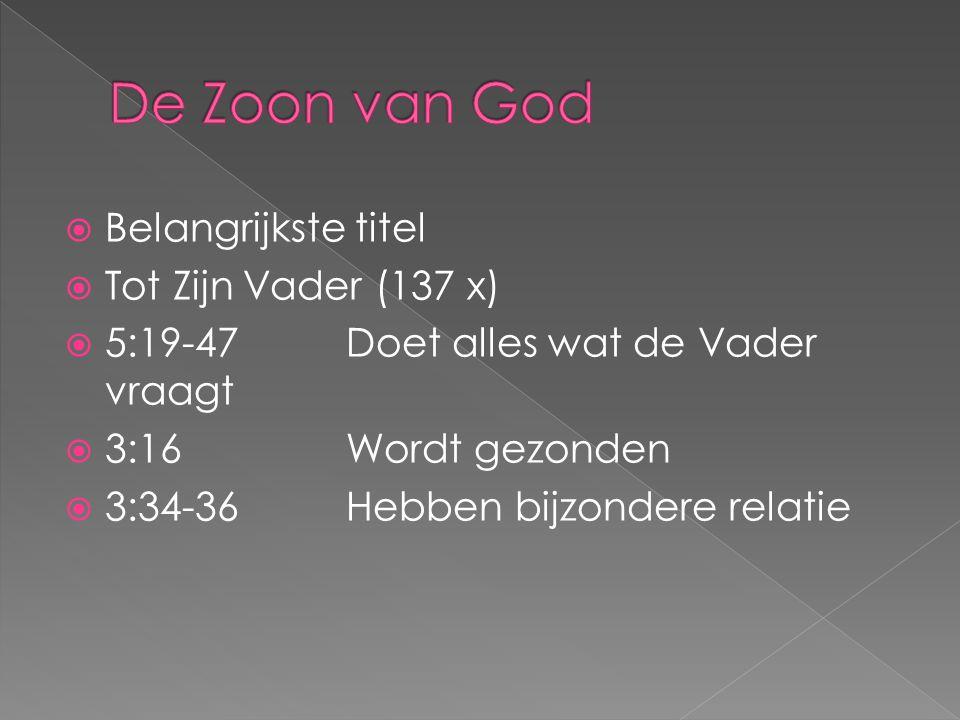  Belangrijkste titel  Tot Zijn Vader (137 x)  5:19-47 Doet alles wat de Vader vraagt  3:16 Wordt gezonden  3:34-36Hebben bijzondere relatie