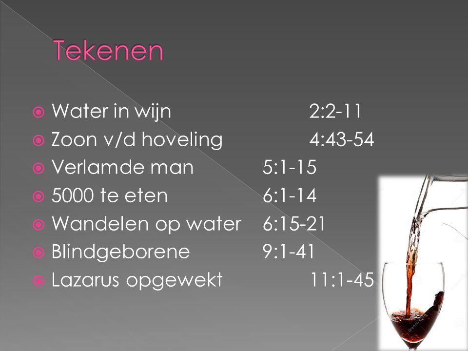  Water in wijn 2:2-11  Zoon v/d hoveling4:43-54  Verlamde man5:1-15  5000 te eten6:1-14  Wandelen op water6:15-21  Blindgeborene9:1-41  Lazarus