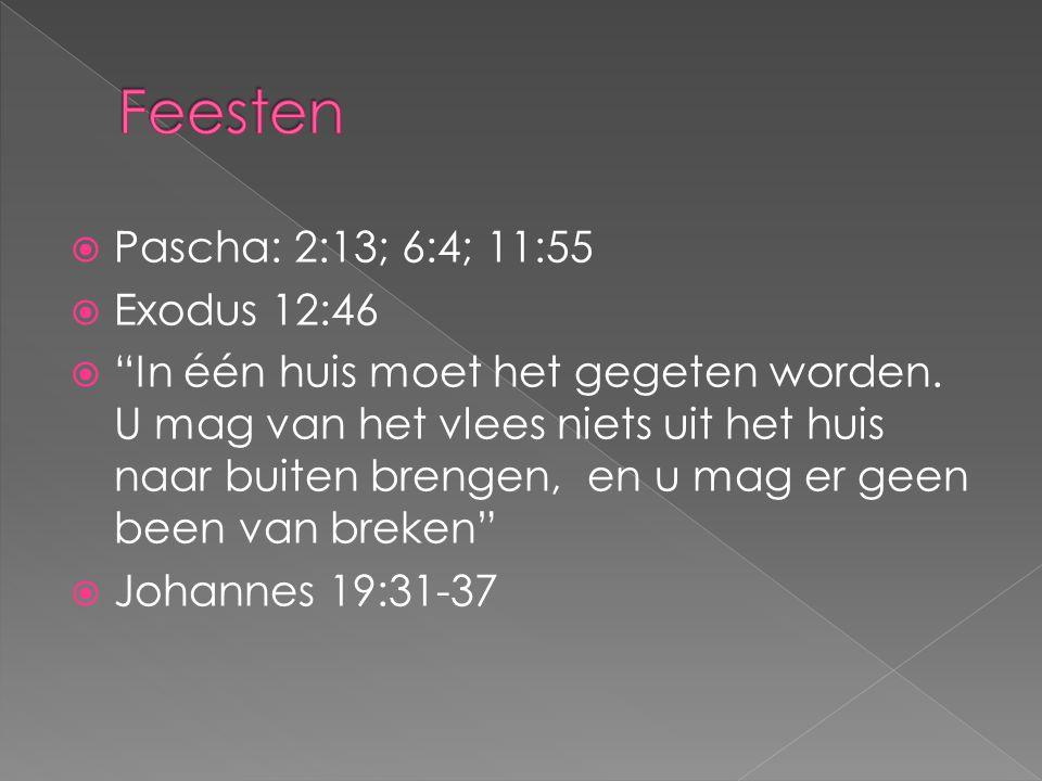 """ Pascha: 2:13; 6:4; 11:55  Exodus 12:46  """"In één huis moet het gegeten worden. U mag van het vlees niets uit het huis naar buiten brengen, en u mag"""