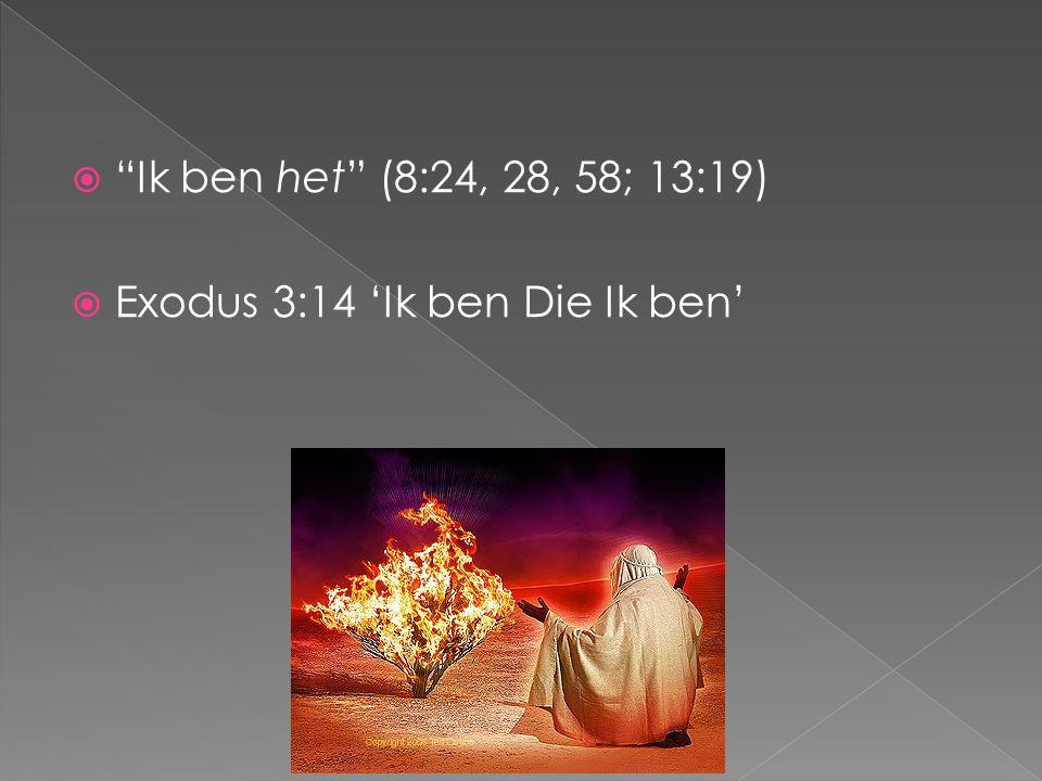 """ """"Ik ben het"""" (8:24, 28, 58; 13:19)  Exodus 3:14 'Ik ben Die Ik ben'"""