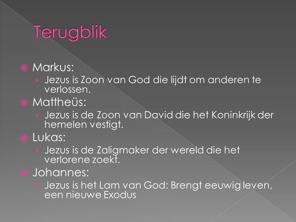  Markus: › Jezus is Zoon van God die lijdt om anderen te verlossen.  Mattheüs: › Jezus is de Zoon van David die het Koninkrijk der hemelen vestigt.