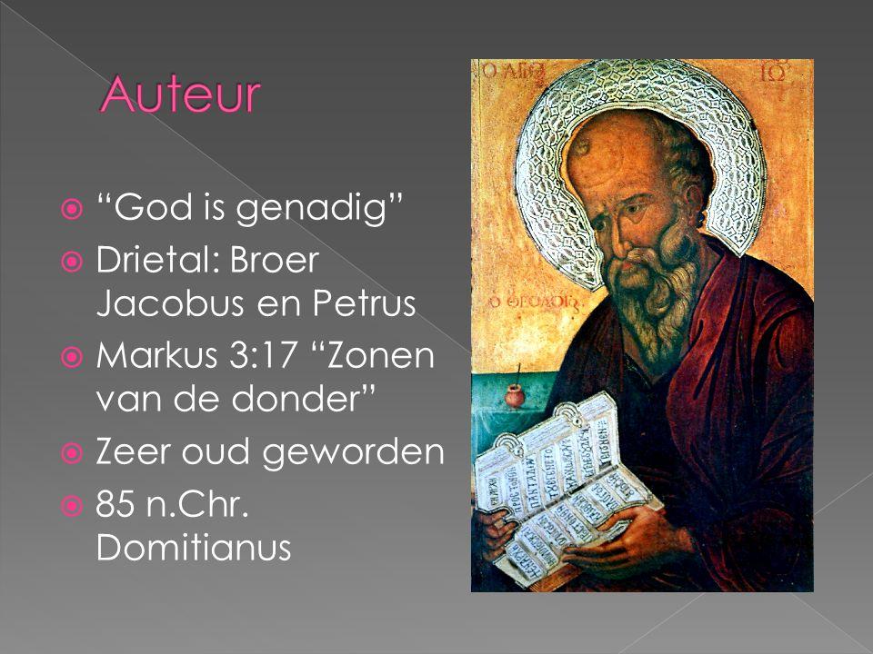""" """"God is genadig""""  Drietal: Broer Jacobus en Petrus  Markus 3:17 """"Zonen van de donder""""  Zeer oud geworden  85 n.Chr. Domitianus"""