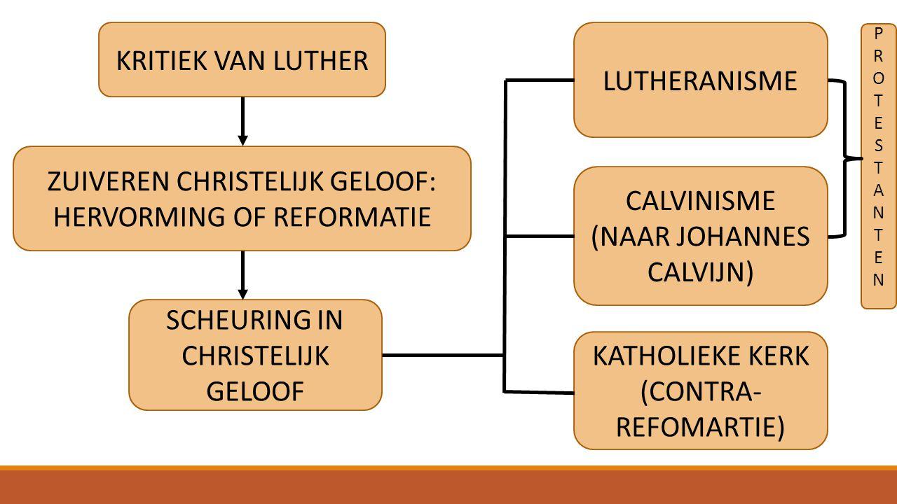 KATHOLICISMELUTHERANISMECALVINISME HEMEL: LUISTEREN NAAR DE KERK, GOEDE DINGEN DOEN HEMEL: OPRECHT GELOOF, BEROUW VAN ZONDEN HEMEL: PREDESTINATIE (VOORBESTEMD), HARD WERKEN, SOBER LEVEN PAUS IS HOOFD VAN DE KERK VORST IS HOOFD VAN DE KERK GEEN KERKHOOFD, IEDERE GEMEENTE BESTUURT ZICH ZELF CELIBAAT VOOR GEESTELIJKEN GEESTELIJKEN MOGEN TROUWEN BIJBEL EN UITSPRAKEN VAN GEESTELIJKEN ZIJN BASIS VAN GELOOF BIJBEL IS BASIS VAN GELOOF 7SACRAMENTEN3 SACRAMENTEN2 SACRAMENTEN (DOOP EN AVONDMAAL) HEILIGEN ZIJN VOORBEELDHEILIGEN ZIJN AFGODERIJ