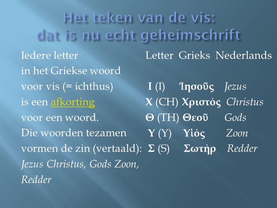 Iedere letter in het Griekse woord voor vis (= ichthus) is een afkortingafkorting voor een woord. Die woorden tezamen vormen de zin (vertaald): Jezus