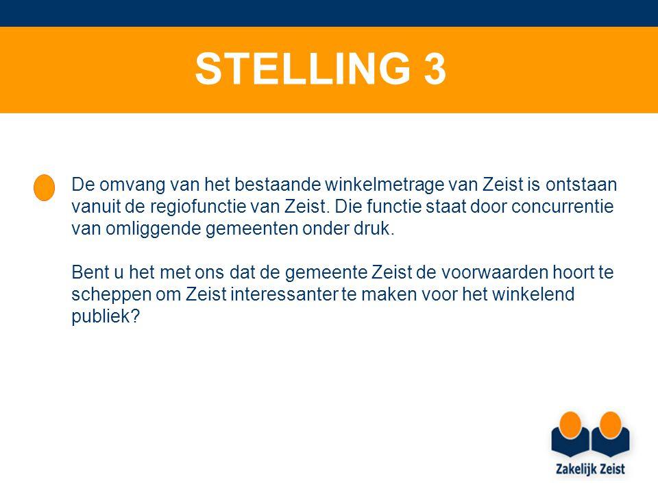STELLING 3 De omvang van het bestaande winkelmetrage van Zeist is ontstaan vanuit de regiofunctie van Zeist.