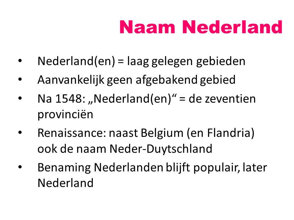 """Naam Nederland Nederland(en) = laag gelegen gebieden Aanvankelijk geen afgebakend gebied Na 1548: """"Nederland(en)"""" = de zeventien provinciën Renaissanc"""