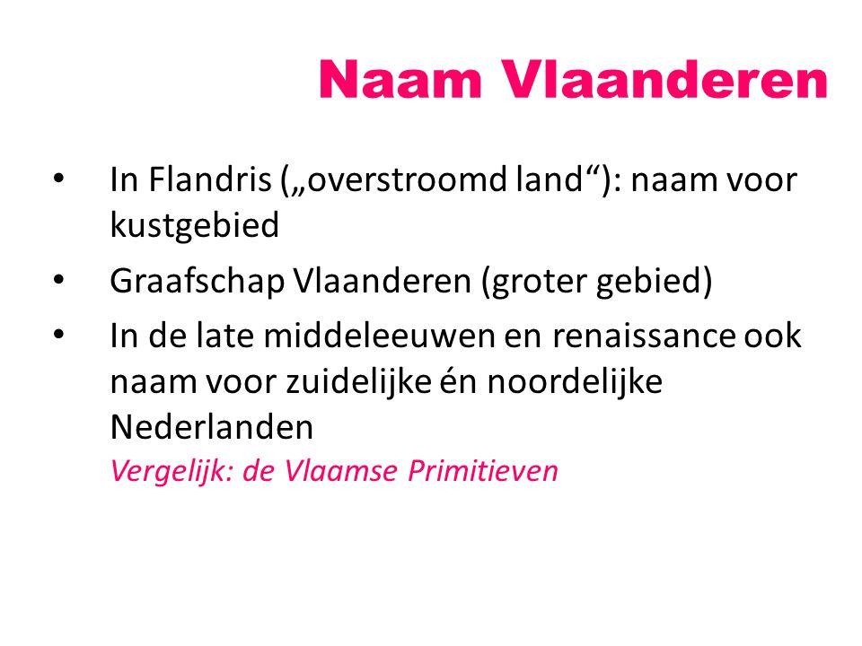 """Naam Vlaanderen In Flandris (""""overstroomd land""""): naam voor kustgebied Graafschap Vlaanderen (groter gebied) In de late middeleeuwen en renaissance oo"""