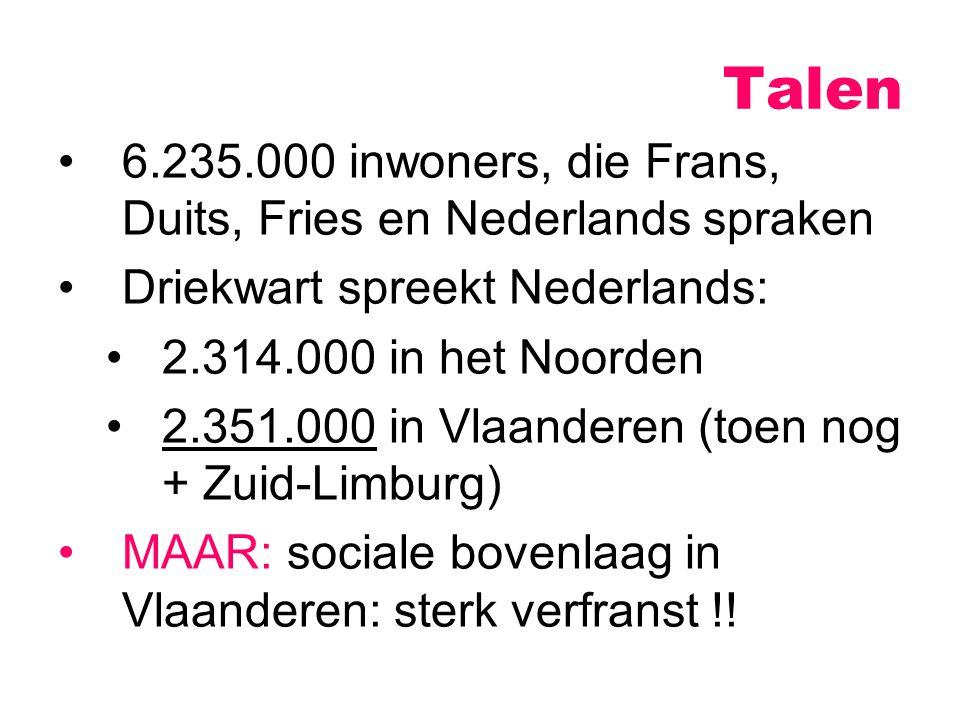 6.235.000 inwoners, die Frans, Duits, Fries en Nederlands spraken Driekwart spreekt Nederlands: 2.314.000 in het Noorden 2.351.000 in Vlaanderen (toen