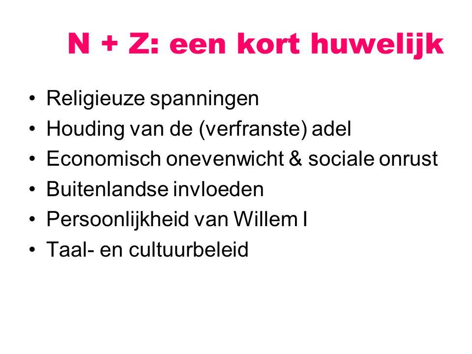 N + Z: een kort huwelijk Religieuze spanningen Houding van de (verfranste) adel Economisch onevenwicht & sociale onrust Buitenlandse invloeden Persoon