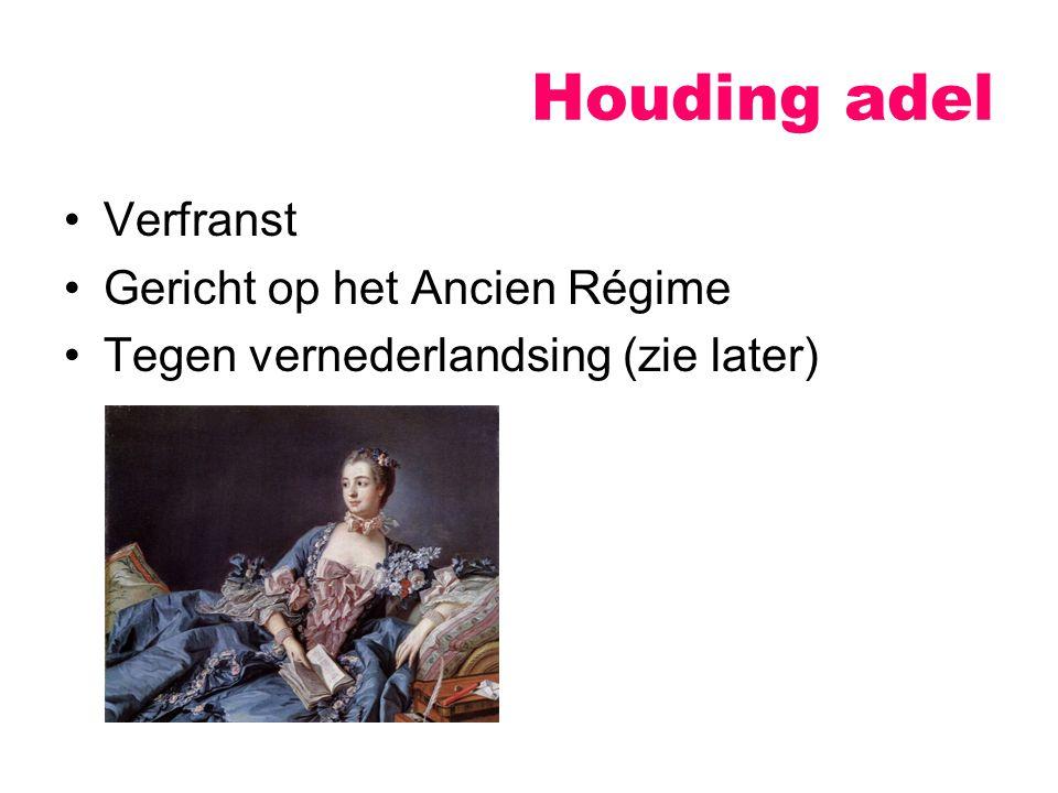 Houding adel Verfranst Gericht op het Ancien Régime Tegen vernederlandsing (zie later)
