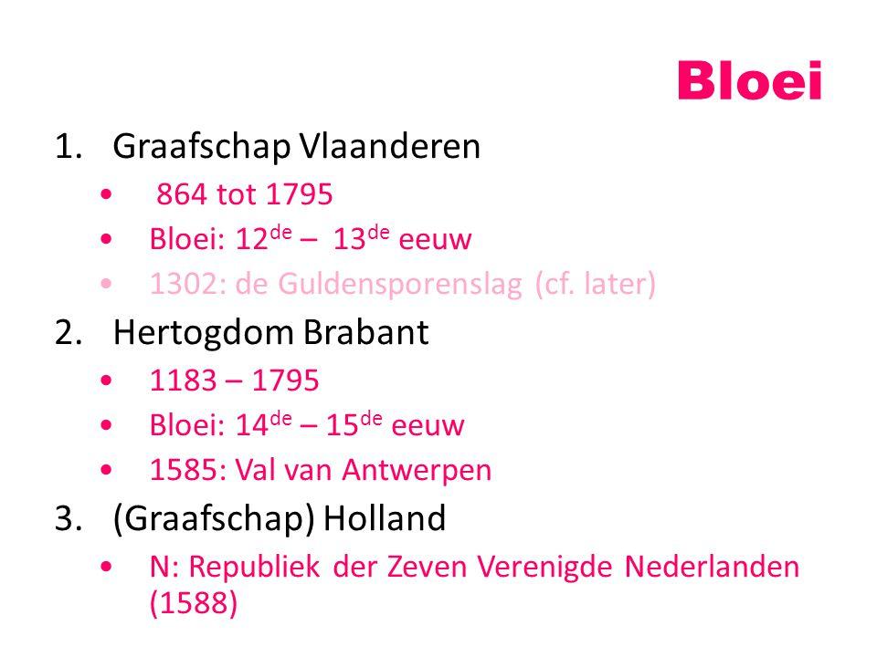 Bloei 1.Graafschap Vlaanderen 864 tot 1795 Bloei: 12 de – 13 de eeuw 1302: de Guldensporenslag (cf. later) 2.Hertogdom Brabant 1183 – 1795 Bloei: 14 d