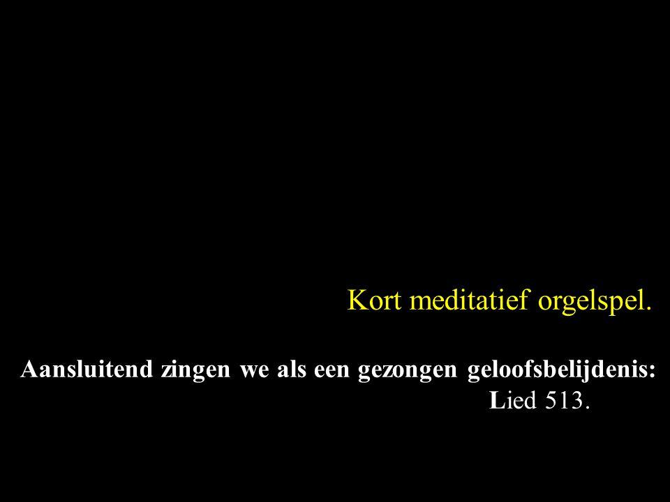 Kort meditatief orgelspel. Aansluitend zingen we als een gezongen geloofsbelijdenis: Lied 513.
