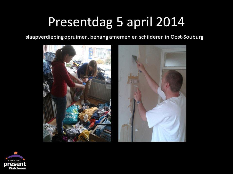 Presentdag 5 april 2014 slaapverdieping opruimen, behang afnemen en schilderen in Oost-Souburg
