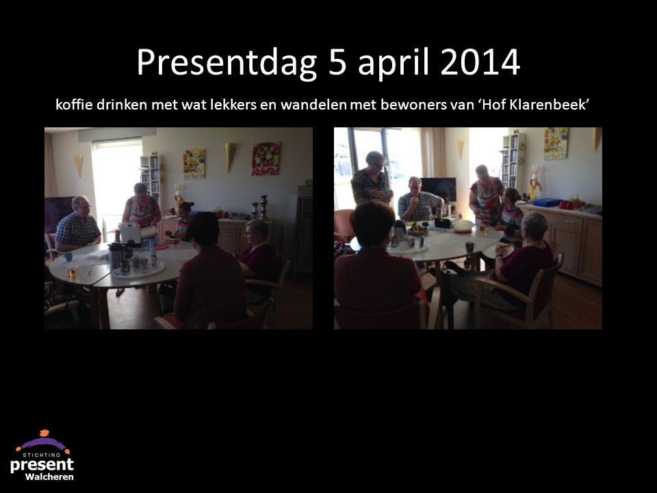Presentdag 5 april 2014 koffie drinken met wat lekkers en wandelen met bewoners van 'Hof Klarenbeek'