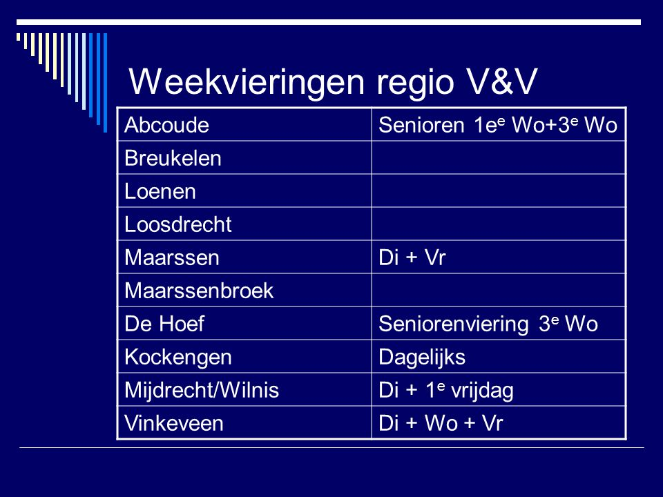 Weekvieringen regio V&V AbcoudeSenioren 1e e Wo+3 e Wo Breukelen Loenen Loosdrecht MaarssenDi + Vr Maarssenbroek De HoefSeniorenviering 3 e Wo Kockeng