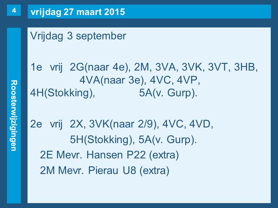 vrijdag 27 maart 2015 Roosterwijzigingen Vrijdag 3 september 1evrij2G(naar 4e), 2M, 3VA, 3VK, 3VT, 3HB, 4VA(naar 3e), 4VC, 4VP, 4H(Stokking), 5A(v.