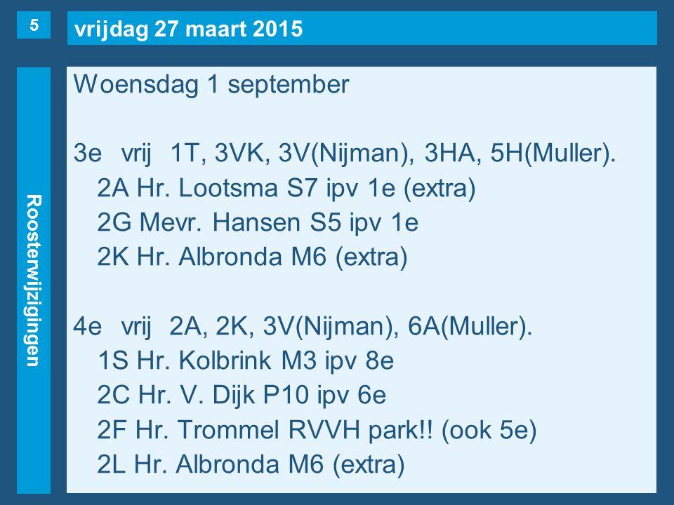 vrijdag 27 maart 2015 Roosterwijzigingen Woensdag 1 september 3evrij1T, 3VK, 3V(Nijman), 3HA, 5H(Muller). 2A Hr. Lootsma S7 ipv 1e (extra) 2G Mevr. Ha