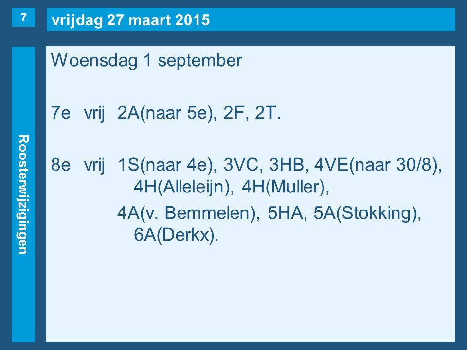 vrijdag 27 maart 2015 Roosterwijzigingen Woensdag 1 september 7evrij2A(naar 5e), 2F, 2T. 8evrij1S(naar 4e), 3VC, 3HB, 4VE(naar 30/8), 4H(Alleleijn), 4