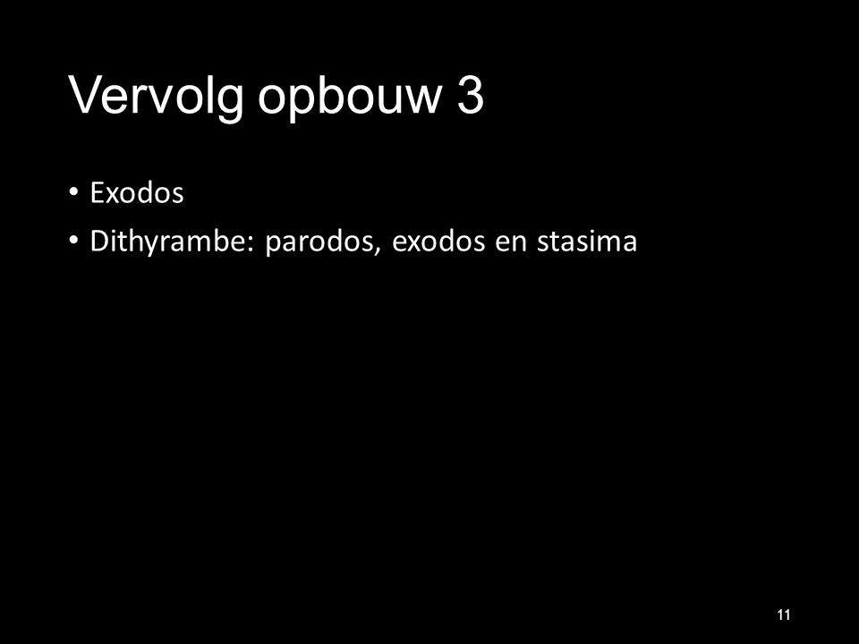 Vervolg opbouw 3 Exodos Dithyrambe: parodos, exodos en stasima 11