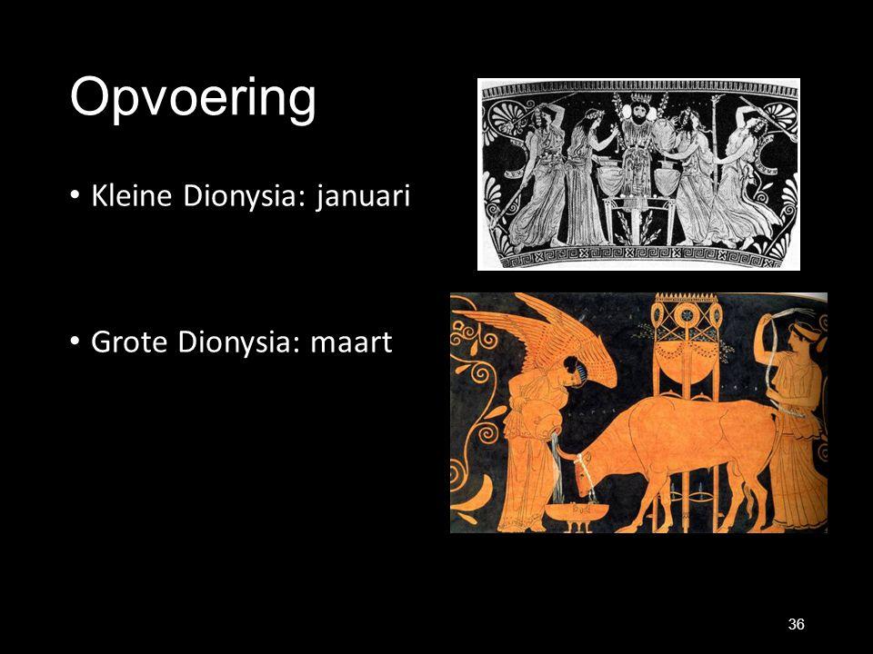 Opvoering Kleine Dionysia: januari Grote Dionysia: maart 36