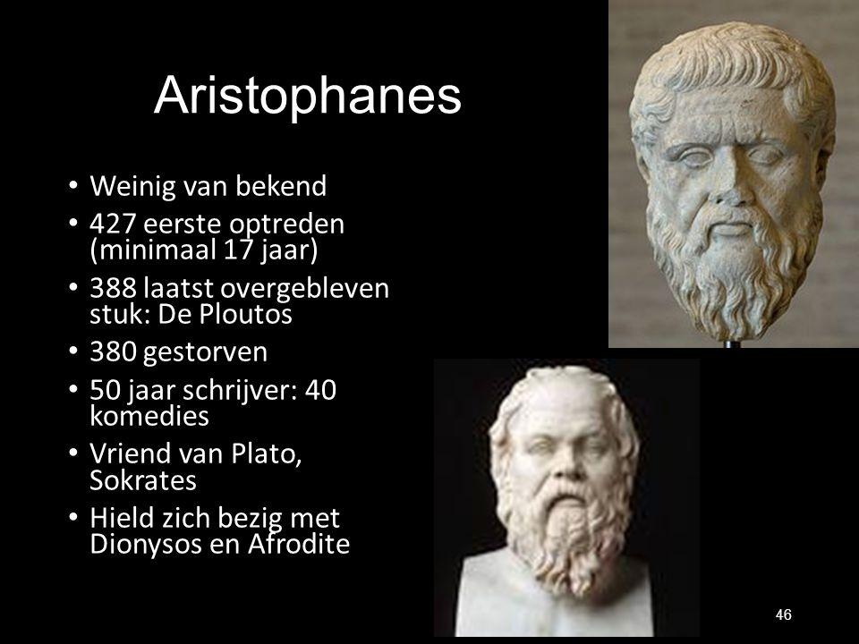 Aristophanes Weinig van bekend 427 eerste optreden (minimaal 17 jaar) 388 laatst overgebleven stuk: De Ploutos 380 gestorven 50 jaar schrijver: 40 kom