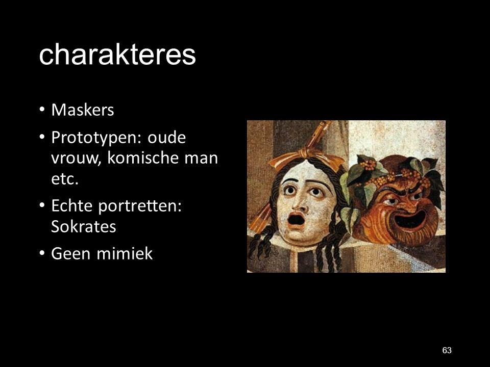charakteres Maskers Prototypen: oude vrouw, komische man etc. Echte portretten: Sokrates Geen mimiek 63