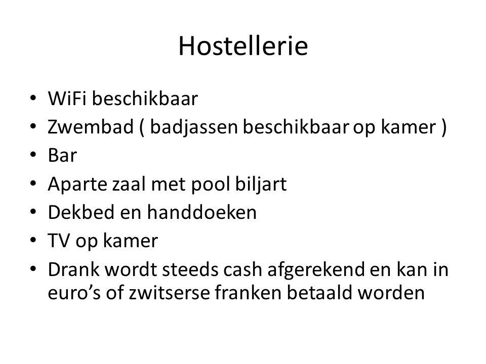 Hostellerie WiFi beschikbaar Zwembad ( badjassen beschikbaar op kamer ) Bar Aparte zaal met pool biljart Dekbed en handdoeken TV op kamer Drank wordt steeds cash afgerekend en kan in euro's of zwitserse franken betaald worden