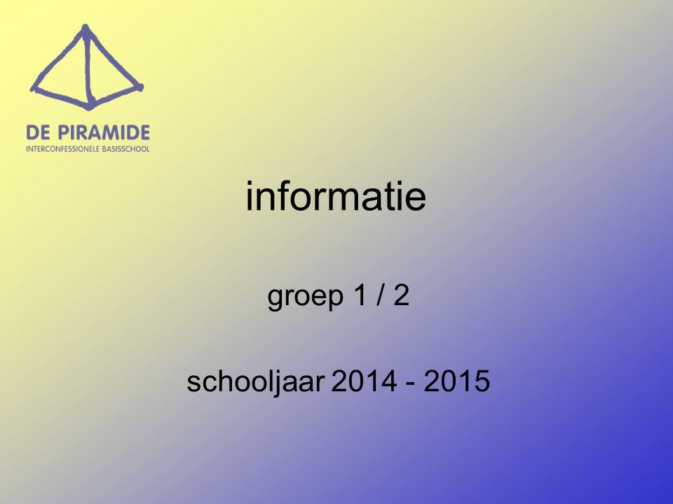 informatie groep 1 / 2 schooljaar 2014 - 2015