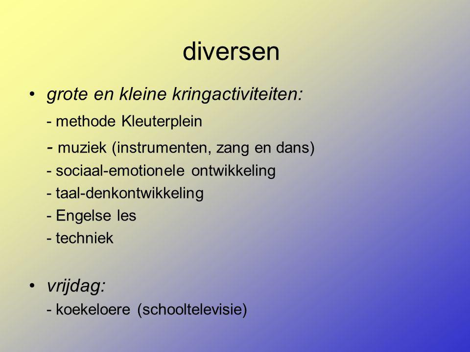 diversen grote en kleine kringactiviteiten: - methode Kleuterplein - muziek (instrumenten, zang en dans) - sociaal-emotionele ontwikkeling - taal-denk