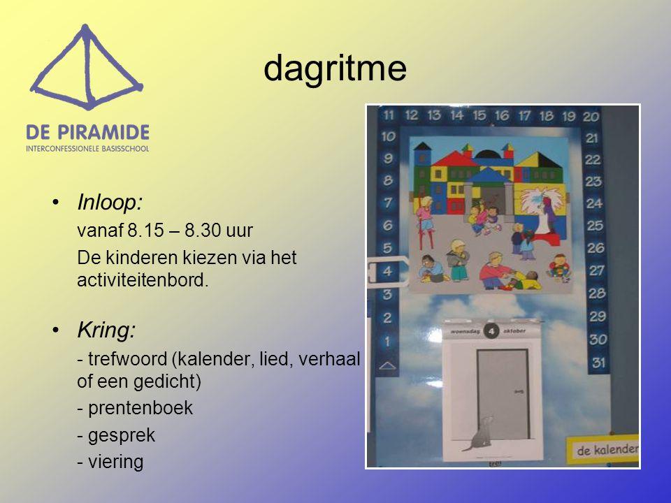 dagritme Inloop: vanaf 8.15 – 8.30 uur De kinderen kiezen via het activiteitenbord. Kring: - trefwoord (kalender, lied, verhaal of een gedicht) - pren