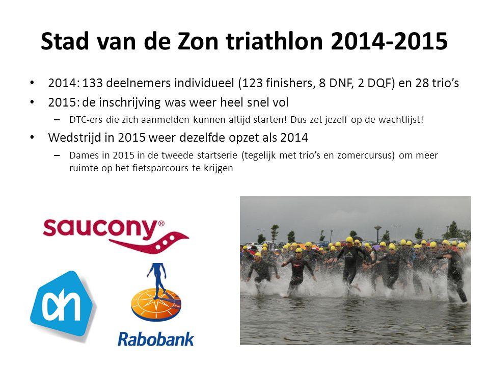 Stad van de Zon triathlon 2014-2015 2014: 133 deelnemers individueel (123 finishers, 8 DNF, 2 DQF) en 28 trio's 2015: de inschrijving was weer heel snel vol – DTC-ers die zich aanmelden kunnen altijd starten.