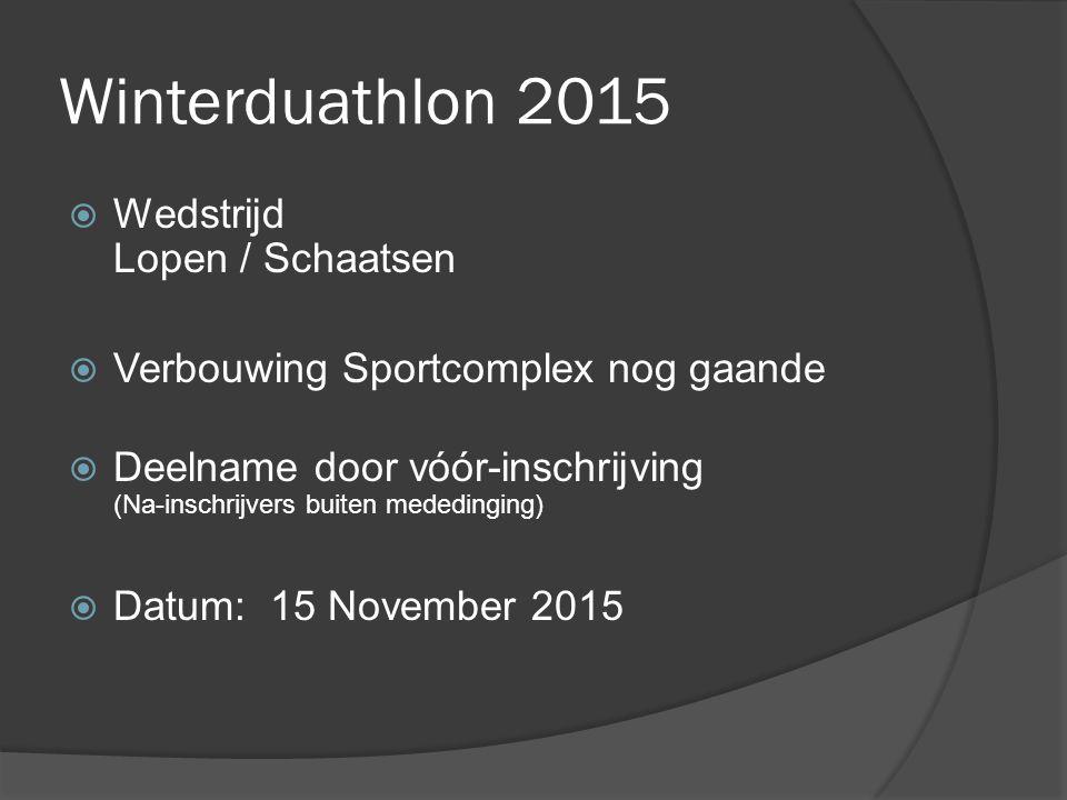 Winterduathlon 2015  Wedstrijd Lopen / Schaatsen  Verbouwing Sportcomplex nog gaande  Deelname door vóór-inschrijving (Na-inschrijvers buiten mededinging)  Datum: 15 November 2015