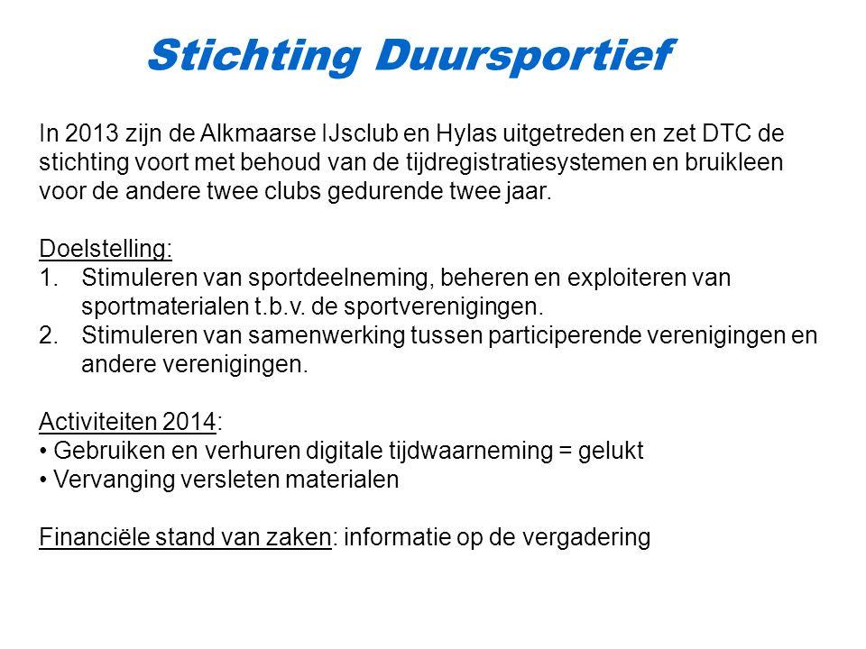 Stichting Duursportief In 2013 zijn de Alkmaarse IJsclub en Hylas uitgetreden en zet DTC de stichting voort met behoud van de tijdregistratiesystemen en bruikleen voor de andere twee clubs gedurende twee jaar.